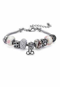 """Silver Tone Bali Style Red Crystal Charm 8"""" Bracelet plus Extender,"""