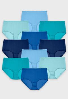 10-Pack Nylon Full-Cut Brief , BLUE MULTI PACK