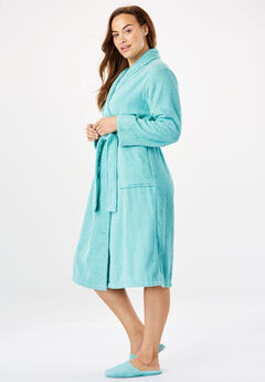 Short Terry Robe with FREE Matching Slippers by Dreams & Co®, AZURE