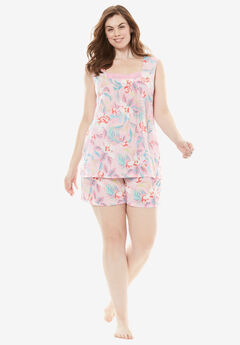 Whisperweight Gauze Shorty PJ Set by Dreams & Co.®, GARDEN ROSE FLORAL, hi-res