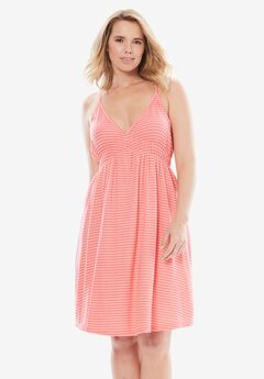 Stripe V-Neck Chemise with Mesh Back by Dreams & Co.®, CORAL ROSE STRIPE
