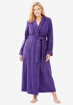 Long Terry Robe by Dreams & Co®, PLUM BURST