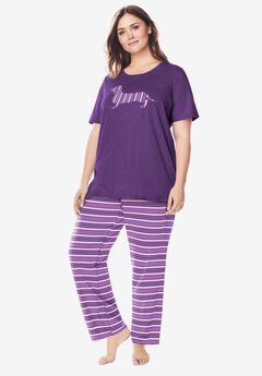 Graphic Tee PJ Set , LIGHT ORCHID STRIPE