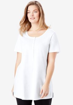 Perfect Short-Sleeve Scoop-Neck Henley Tunic,