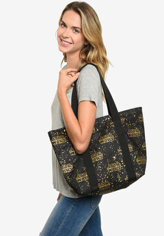 Star Wars Zippered Travel Tote Bag All-over Metallic Logo Shoulder Handbag,
