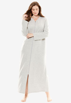 Quilted Fleece Long Bed Jacket by Only Necessities®, HEATHER GREY, hi-res