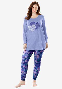 2-Piece PJ Legging Set by Dreams & Co.®, BLUE SAPPHIRE HEARTS