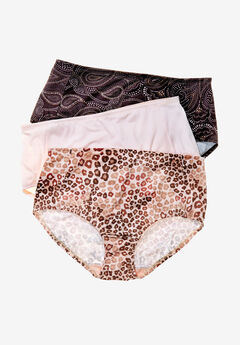 3-Pack Smoothing Full-Cut Brief by Comfort Choice®, PAISLEY LEOPARD PACK, hi-res