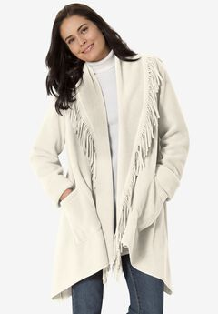 Fringed Shawl Collar Fleece Jacket,