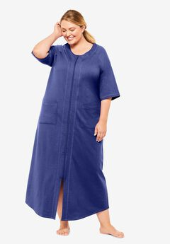 Long French Terry Zip-Front Robe by Dreams & Co.®, ULTRA BLUE