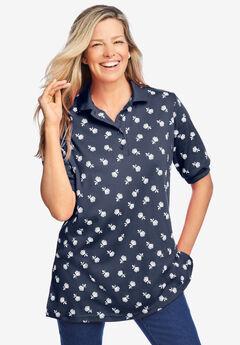 Elbow-Sleeve Polo Shirt, NAVY DRIFT FLORAL