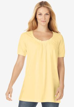 Perfect Short-Sleeve Shirred U-Neck Tunic,