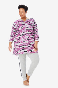 Notch Neck Fleece High-Low Sweatshirt by Dreams & Co.®, RADIANT ORCHID CAMO
