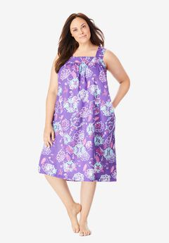 Print Sleeveless Square Neck Lounger by Dreams & Co.®, PLUM BURST PAISLEY