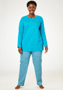 2-Piece PJ Set by Only Necessities®, DARK TURQ LEAF, hi-res