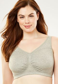 Ruched Wireless Lounge Bra by Comfort Choice®, HEATHER GREY