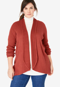 Rib Knit Open Front Cardigan Sweater,