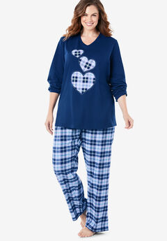 Cozy Pajama Set by Dreams & Co.®, EVENING BLUE PLAID HEARTS