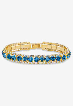 "Gold Tone Tennis Bracelet (10mm), Round Birthstones and Crystal, 7"","