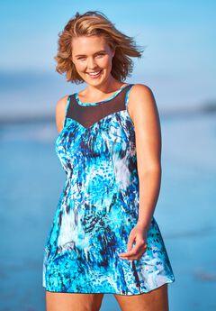Mesh-Trim Swim Dress ,