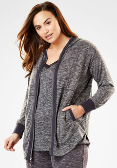 Zip-Front Sleep Hoodie by Dreams & Co., CHARCOAL GREY MARLED