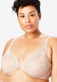 Glamorise® Wonderwire® Stretch Lace Front-Close Underwire Bra #9245, CAFE
