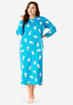 Holiday Print Sleepshirt by Dreams & Co.®, DARK TURQ SNOWMAN