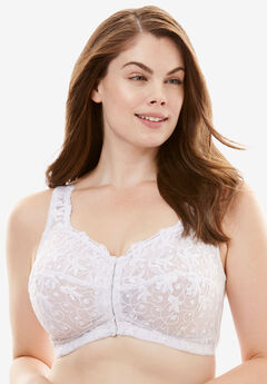 Scroll Embroidered Wireless Front-Close Bra by Amoureuse®, WHITE