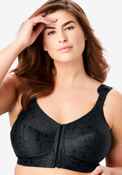 Elila® Jacquard Front-Close Wireless Bra #1515, BLACK