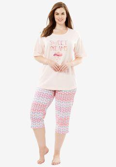 Graphic Tee Capri PJ Set by Dreams & Co.®, SWEET DREAMS, hi-res