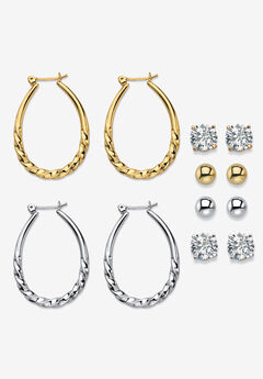 Cubic Zirconia Stud and Hoop Earrings, 6-Pair Set,