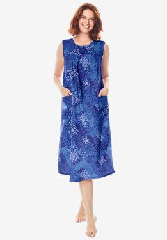 Sleeveless Print Lounger by Only Necessities®, CORNFLOWER BLUE MOSAIC