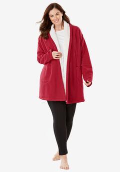 Sherpa-Lined Microfleece Bed Jacket ,