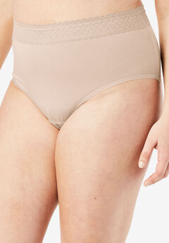 3-Pack Lace Waistband Full-Cut Brief by Comfort Choice®, NUDE PACK