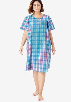 70c803b68fc Short Seersucker Henley Nightgown by Dreams   Co.®