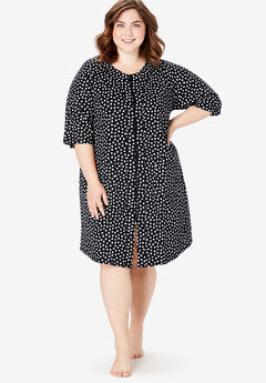 Short French Terry Zip-Front Robe by Dreams & Co.®, BLACK WHITE SPOTS