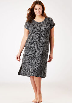Supersoft Thermal Sleepshirt by Dreams & Co.®, GREY LEOPARD