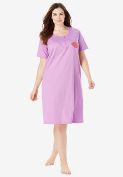 Cotton Sleepshirt, LIGHT ORCHID KISS