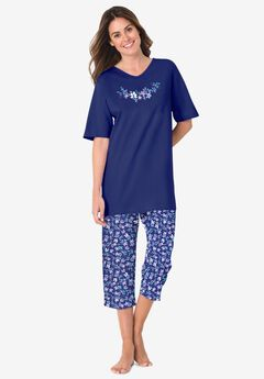 2-Piece Capri PJ Set , EVENING BLUE FLOWERS