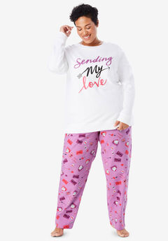 Fleece Sweatshirt & Pant Pajama Set by Dreams & Co.®,