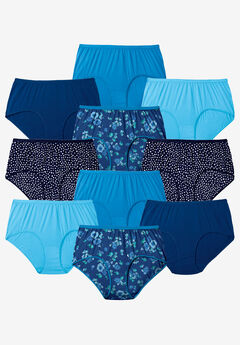 10-Pack Pure Cotton Full-Cut Brief , EVENING BLUE DOT PACK