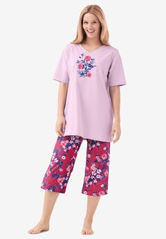2-Piece Capri PJ Set by Dreams & Co.®, STRAWBERRY ROSE
