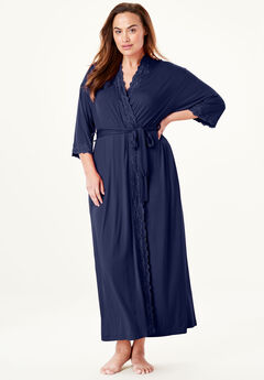 Long Knit Robe, NAVY, hi-res