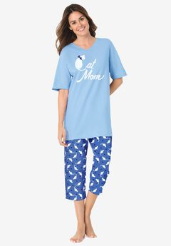 2-Piece Capri PJ Set by Dreams & Co.®, CORNFLOWER BLUE CAT MOM