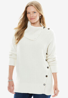 Button-Neck Waffle Knit Sweater,