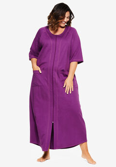 Long French Terry Zip-Front Robe by Dreams & Co.®,