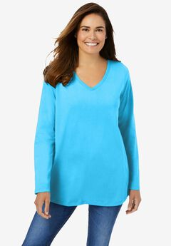 Perfect Long-Sleeve V-Neck Tee,