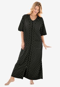 Long French Terry Zip-Front Robe by Dreams & Co.®, BLACK DOT