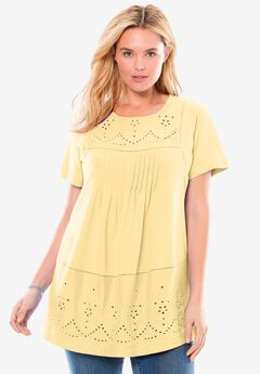 Embroidered Eyelet Pintucked Knit Tunic,