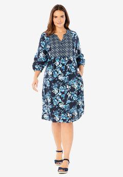Three-quarter Sleeve Mixed Print Dress,